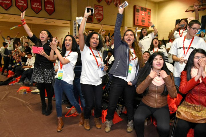 """Students excited during the """"Get Schooled, Get Connected Celebration."""""""